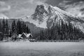 emerald lake, winter, yoho national park, snowmen, lodge, photo