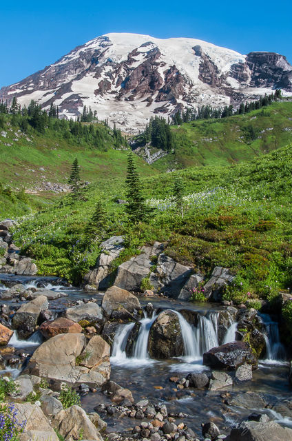 famous, waterfall, paradise, mt rainier, mt rainier national park, national park, popular, photographers, traditional,