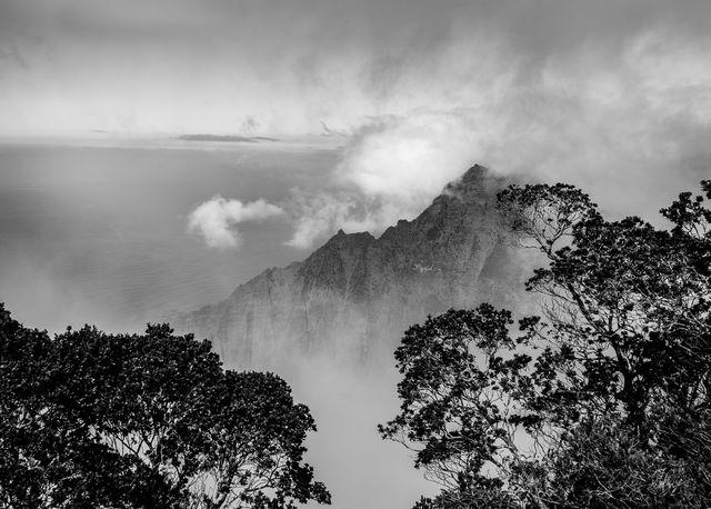 kauai, landscapes, hawaii, ocean, cliffs, clouds, landscapes, island