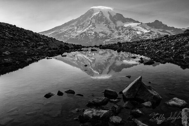 Rainier Reflection (black & white)