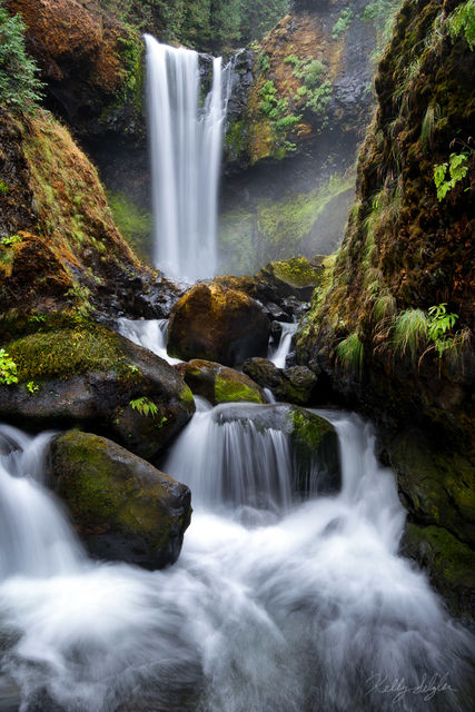 movement, falls creek falls, falls, camera, tripod, boulder, rain, photographing, waterfall, columbia river gorge