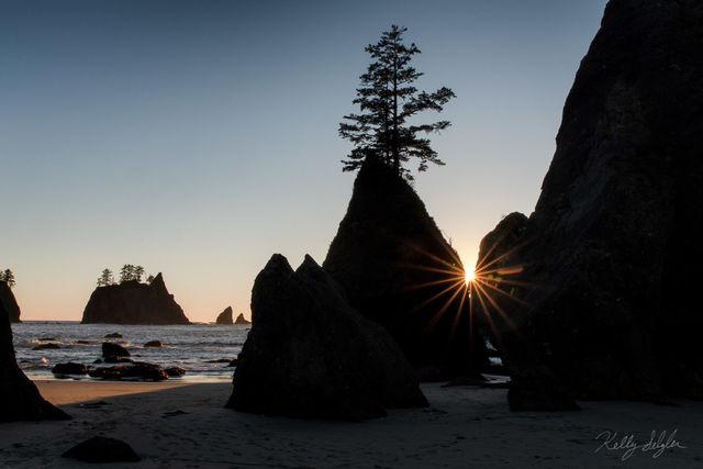 sunburst, shi shi beach, beach, sun, setting, photographing, point of the arches, october, evening, capture, seastacks, shot