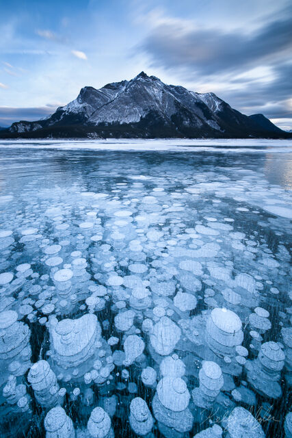 frozen, abraham, lake, canada, bubbles, magic