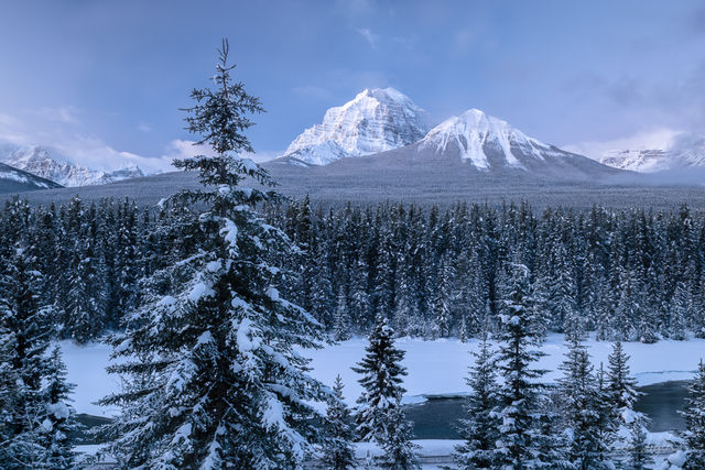 winter, wonder, blue hour, canadian rockies