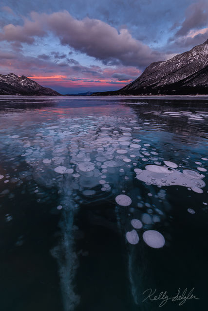 abraham lake, alberta, canada, ice, formations, surface