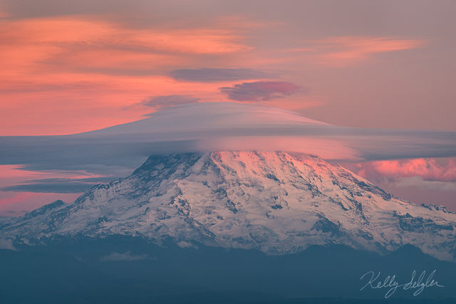 rainier, sunset, lenticular, clouds, camera, stunning, mountain