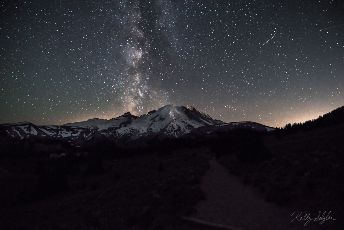 night sky, sunrise, mt rainier, mt rainier national park, meteor showers, dream, nature, milky way, photo