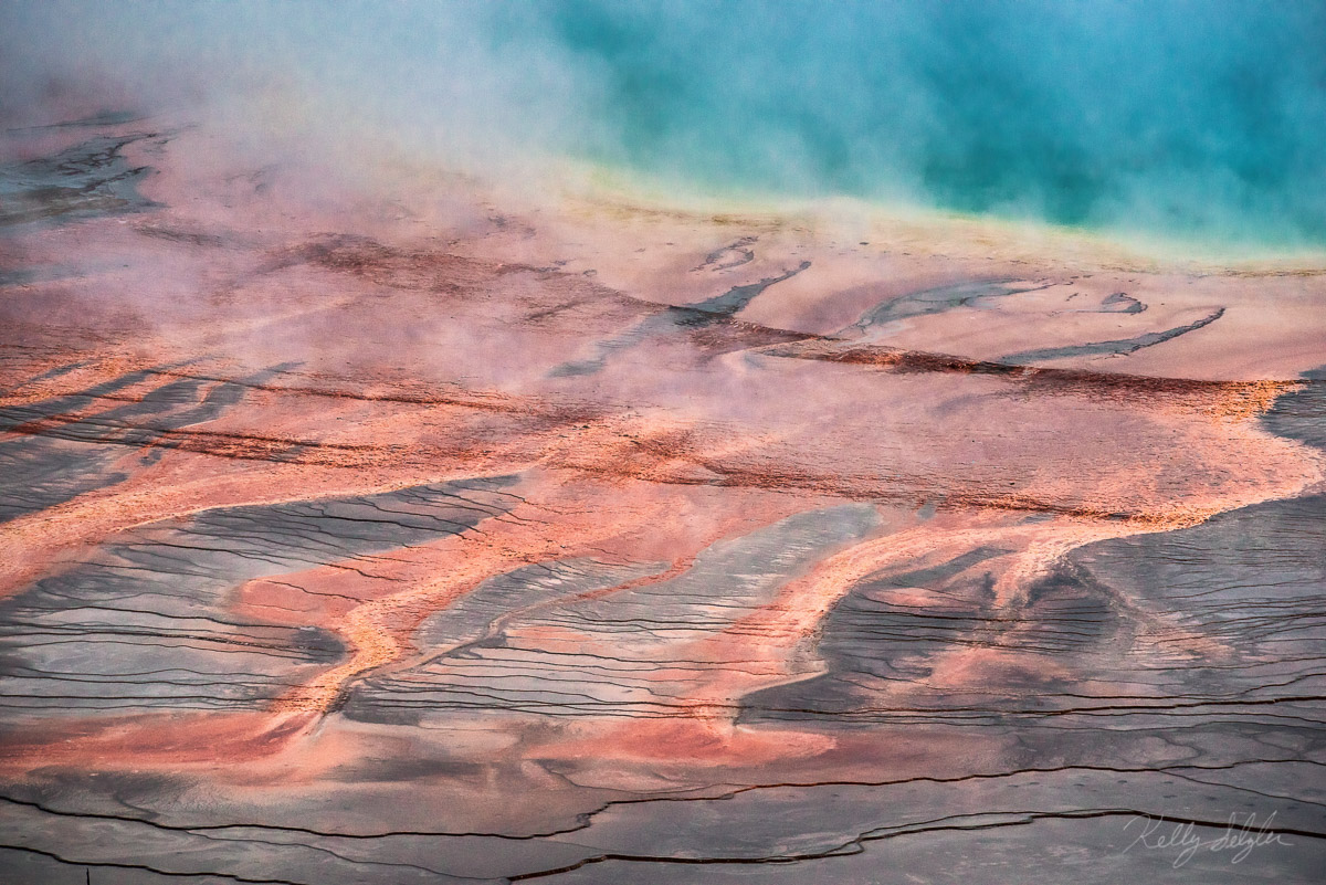 Hiking up above Grand Prismatic Spring, I was able to photograph more of the patterns and colors that make this spring so famous...