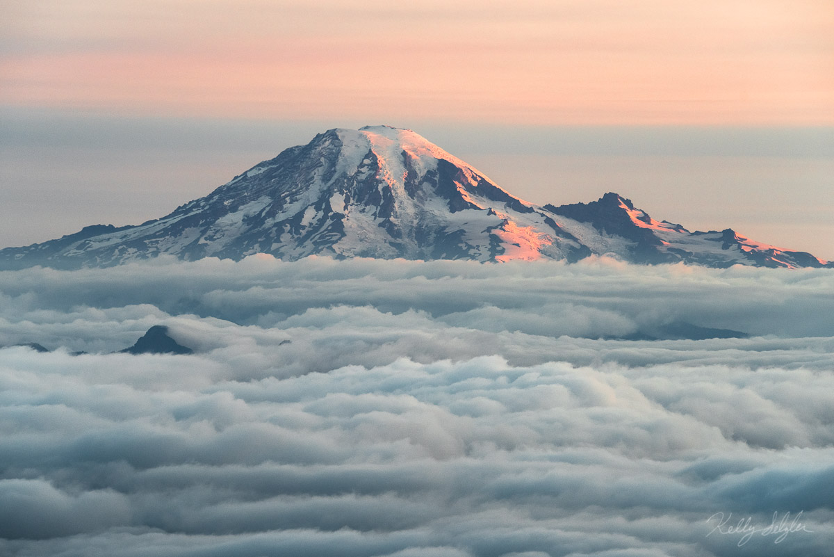 heaven, mt adams, north ridge, awestruck, mt rainier, heavenly, oranges, reds, mountain, glow, clouds, valley, sunrise, photo