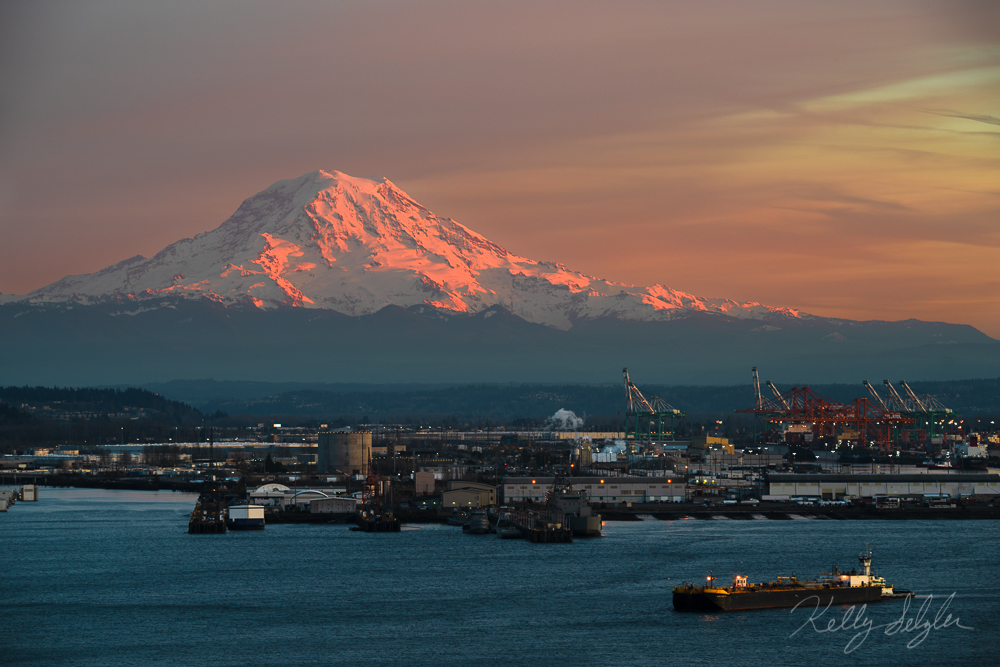 Mt. Rainier was glowing beautifully as the sun set on a cold winter evening.