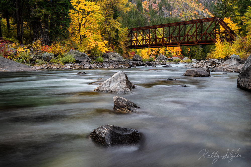 A popular spot for photography, Tumwater Canyon is full of color in the fall.