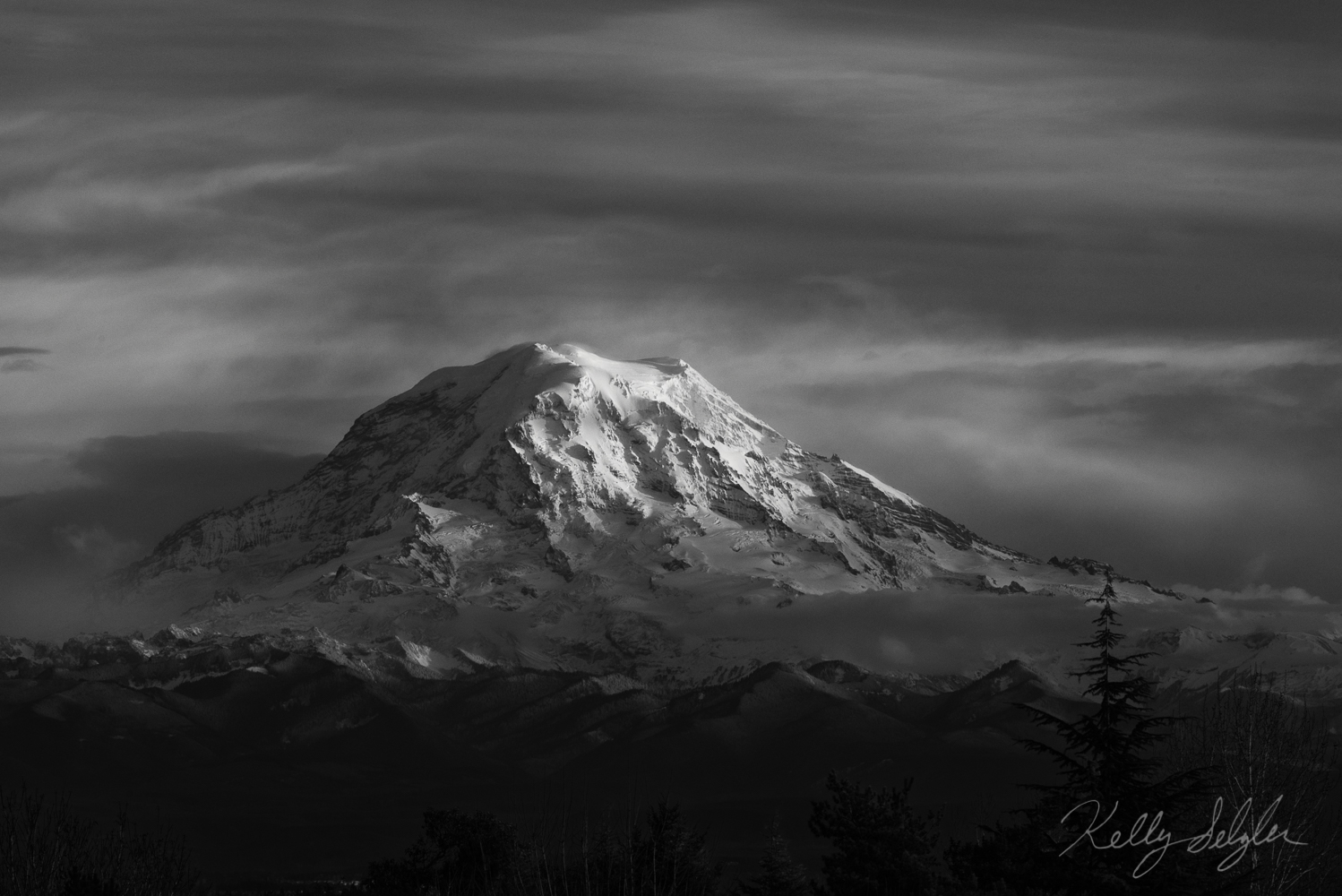 Taken from my neighborhood in Tacoma, theday's last light on Mt. Rainier was magical.