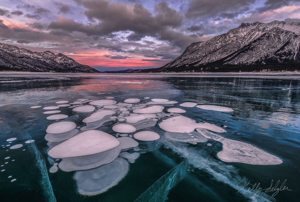 ice bubble, magic, abraham lake, canada, sunset, photo