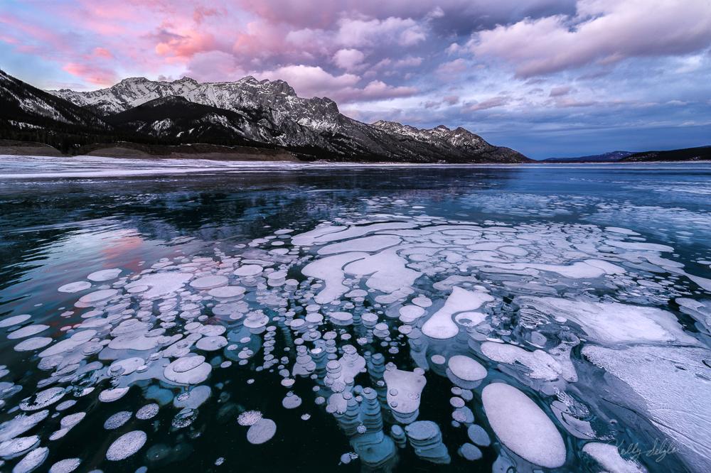 bubble, sunset, abraham lake, canada, alberta, rockies, photo