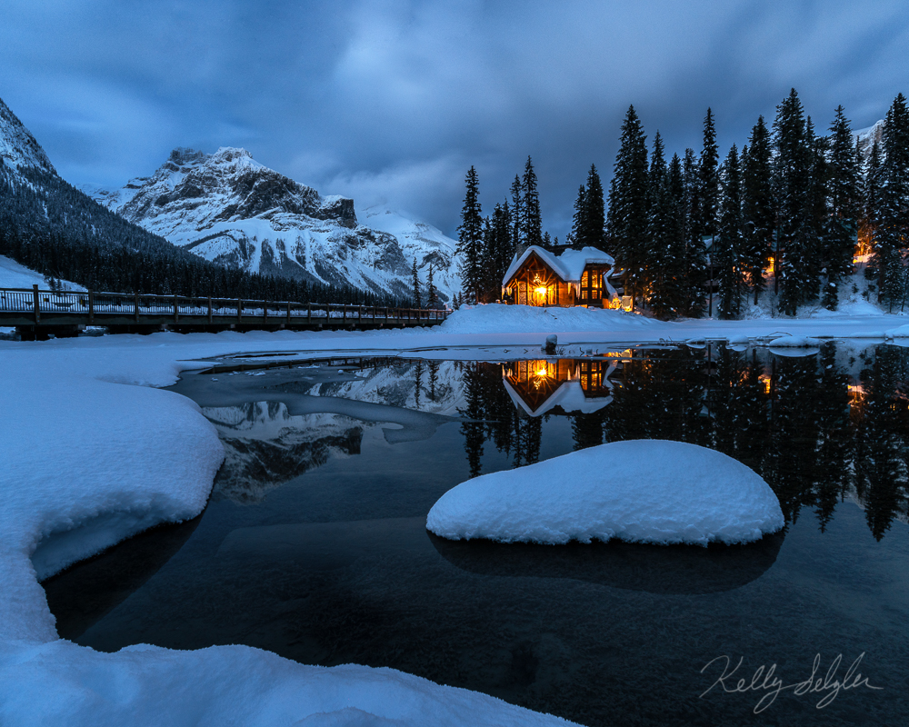 warm, cozy, glow, lodge, wintertime, emerald lake, yoho national park, photo