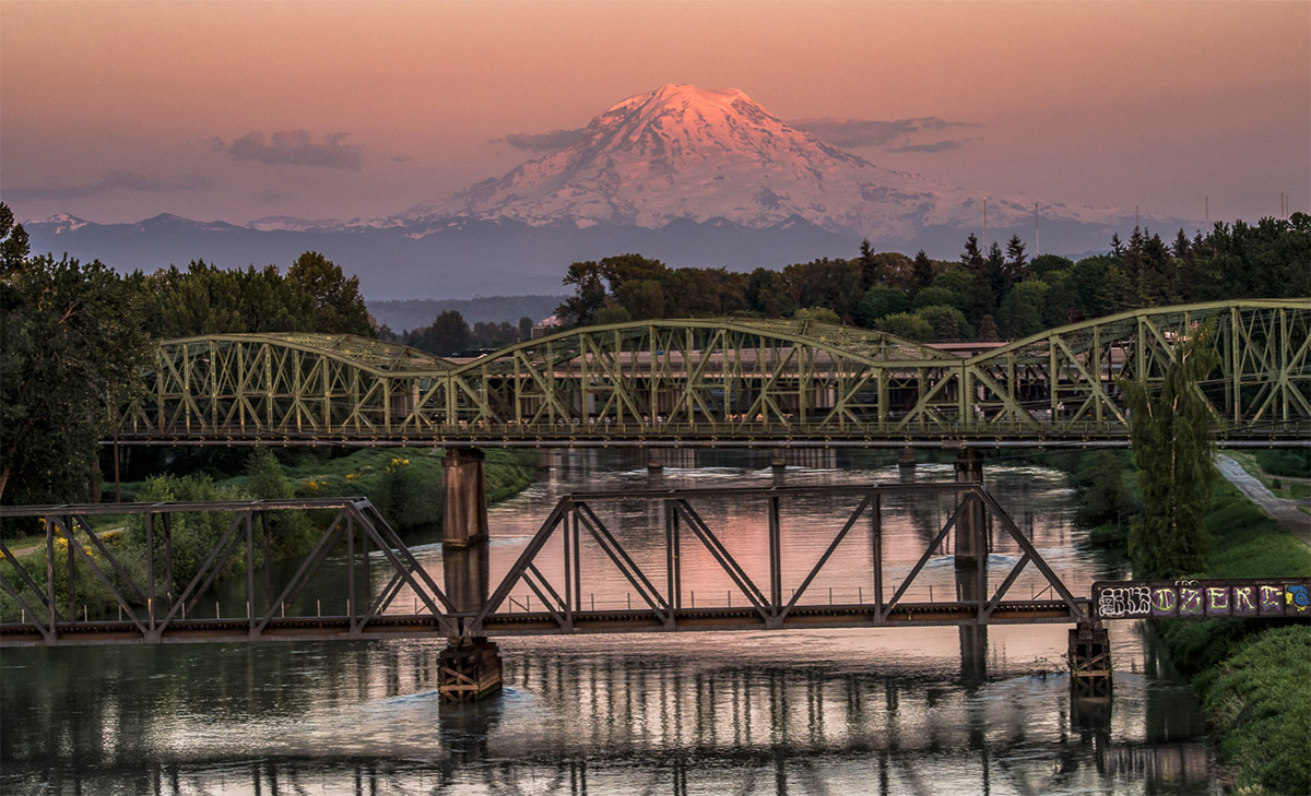 puyallup river bridge, bridge, capture, sunset, light, color, tacoma, city, mt rainier, backdrop, photo